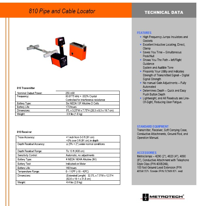 810 Pipe and Cable Locator Technical Data